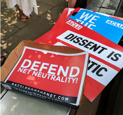 Protest signs from a net neutrality rally held on Capitol Hill