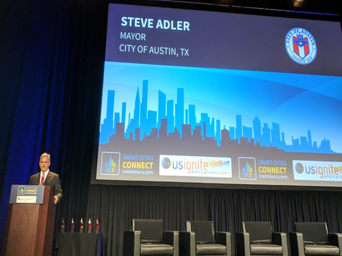 Austin Mayer Steve Adler spoke at the Smart Cities Connect conference in June