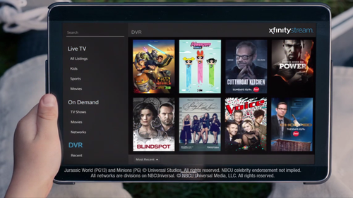 Screenshot of Comcast's Xfinity Stream service, which is being revamped and re-launched as Xfinity Instant TV