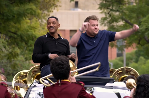 Screenshot of Apple's new 'Carpool Karaoke' show available through Apple Music