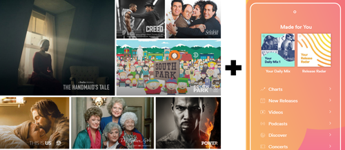 Hulu TV plus Spotify music makes a pretty picture.