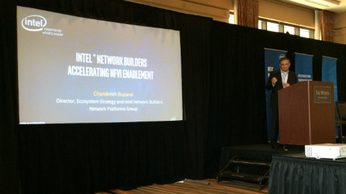 Chandresh Ruparel, director of ecosystem strategy and Intel Network Builders at Intel, holds forth at Tuesday's event.