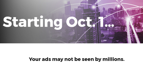 Screenshot of a notice Altice ran on its website warning advertisers that a programming blackout by Disney could cost them millions of viewers.