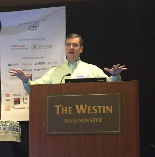 AT&T's Tom Anschutz presents a keynote at last week's NFV & Carrier SDN event in Denver.
