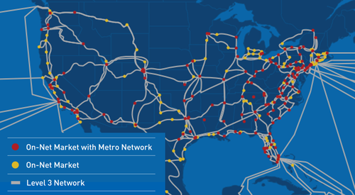 High-level look at the Level 3 network in North America, courtesy of Level 3