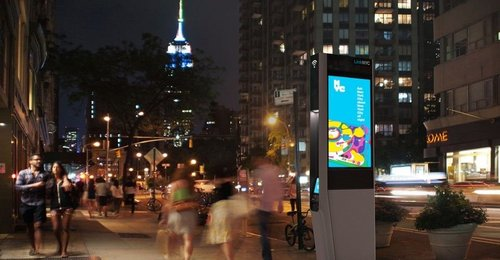 Pictured above, a LinkNYC kiosk providing free WiFi services.  (Source: LinkNYC)