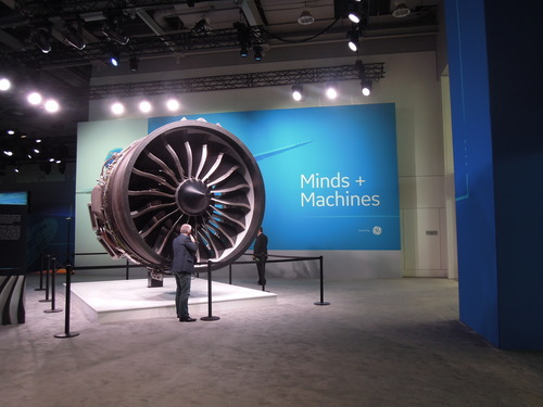 GE's Predix applies to small things too -- teeny soil sensors in agriculture, for example. But it's more fun to take a photo of the big jet engine.