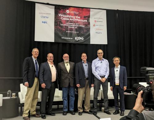 From left to right at the Light Reading virtualization workshop: Steve Marsh, Intraway; David Hering, Viavi; Jeff Finkelstein, Cox; John Dickinson, Charter; Oren Marmur, Amdocs; Jeff Leung, Casa.