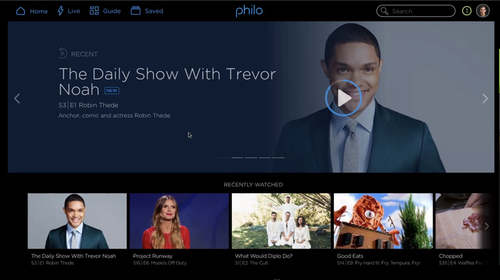 Screenshot of Philo showing recently watched programs.