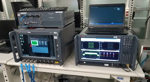 THe equipment to monitor signals inside the RF isolation chamber.