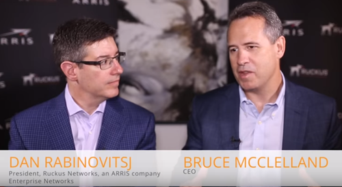 Arris CEO Bruce McClelland talks with Ruckus Networks President Dan Rabinovitsj in an Arris video interview.