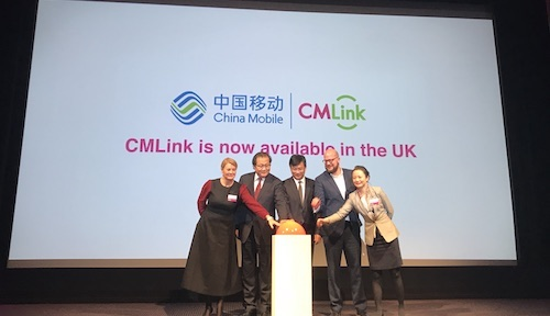 Representatives from China Mobile, BT and the City of London Mayor's office gather at a press event in London to launch CMLink.