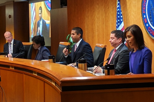 FCC Chairman Ajit Pai holds forth on the Order to Restore Internet Freedom among his fellow FCC commissioners.