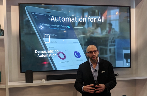 Comcast EVP Chris Satchell shows off the company's automation capabilities at CES 2018.