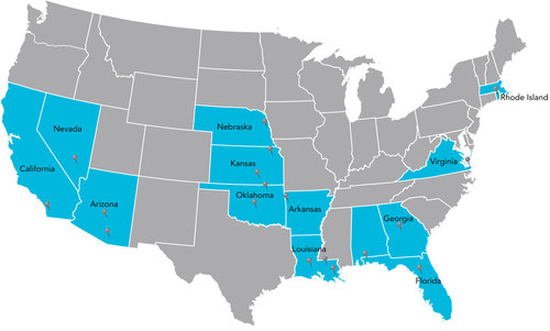 Coverage map above shows the states where Cox operates.