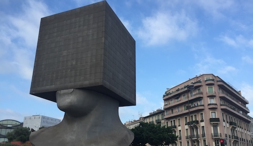 The blockhead sculpture by French artist Sacha Sosno is located right next to Nice's Palais des Congres Acropolis, where the TM Forum holds its annual conference.