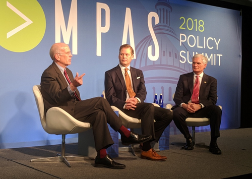 Representative Peter Welch (D-VT) on the left talks with Incompas CEO Chip Pickering, middle, and Representative Bob Latta (R-OH) on right at the 2018 Incompas Policy Summit.