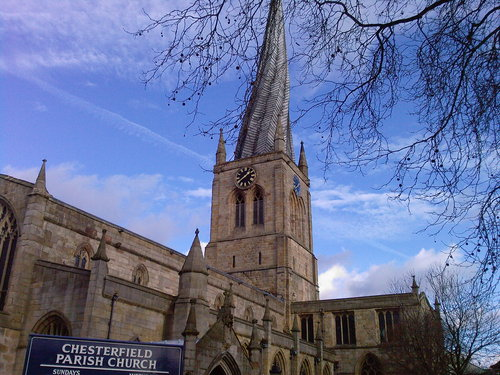 The famous crooked spire of Chesterfield Parish Church: ripe for an antenna?
