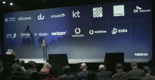 Nokia CEO Rajeev Suri shows off some of the operator names that are engaging with the vendor on their 5G plans.