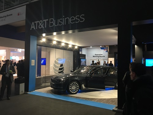AT&T's booth at MWC. Igal Elbaz, AT&T, says there are any number of edge computing use cases, such as offloading the live maps for autonomous vehicles to the edge.