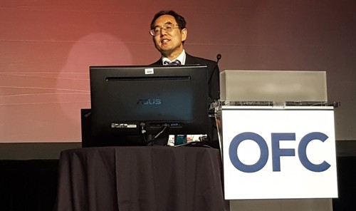 Chengliang Zhang, Vice President of China Telecom Beijing Research Institute, gives his plenary presentation at OFC 2018.