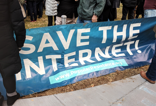 Protesters made their voices heard outside the FCC in December when net neutrality regulations were reversed.