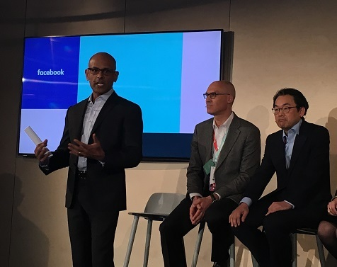 (L to R) Jay Parikh, Facebook; Johan Wiberg, Vodafone; Alex Choi, Deutsche Telekom at Facebook's press conference at MWC. Not pictured on stage were Ruza Sabanovic, Telenor Group; Emmanuel Lugagne, Orange Labs Networks; and Juan Carlos Garcia, Telefonica.