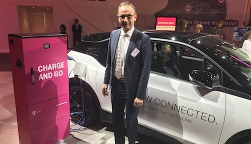 Deutsche Telekom's Bruno Jacobfeuerborn shows off some of the German operator's latest tech at the recent Mobile World Congress.