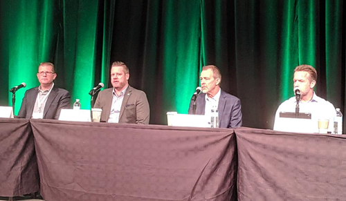 From left to right at the Cable Next-Gen event, SNL Kagan's Jeff Heynen, CableLabs' Jon Schnoor, Nokia's Jeff White and WOW CTO Cash Hagen