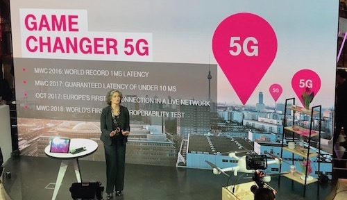 Claudia Nemat, Deutsche Telekom's board member for technology and innovation, tells an audience at Mobile World Congress that 5G commercial trials will start this year.