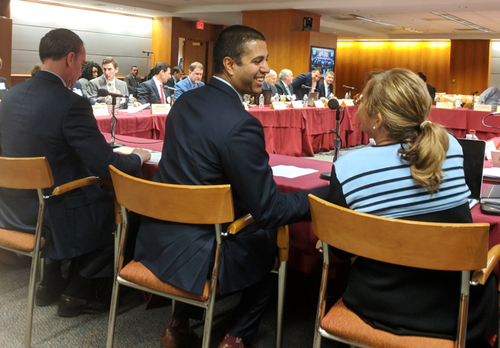 FCC Chairman Ajit Pai (center) meets with members of the BDAC, a committee he created with a mission to accelerate broadband deployments across country.