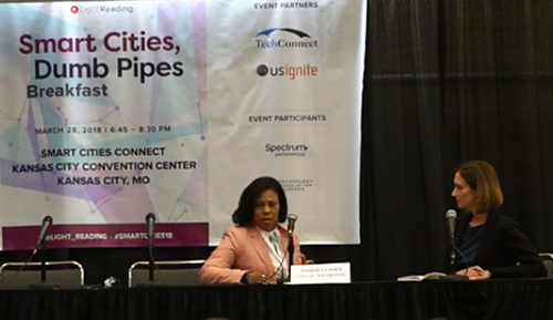 New Orleans CIO Kimberly LaGrue (left) talks to Light Reading Editor Mari Silbey at the Smart Cities, Dumb Pipes event in Kansas City.