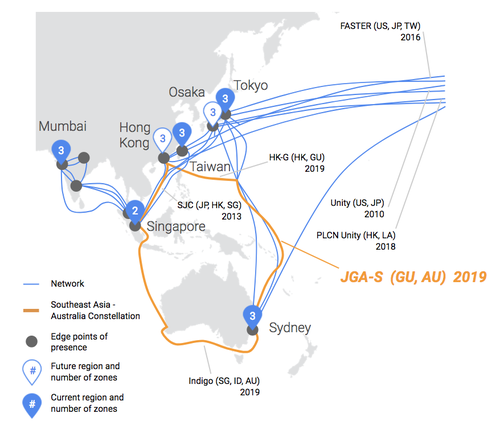 Google's planned undersea cable will link Australia and Southeast Asia. Click here for bigger image. Source: Google.