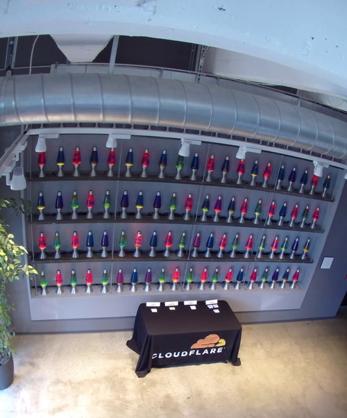 A wall of lava lamps in Cloudflare's San Francisco office makes encryption psychedelic.