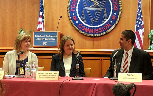 Elizabeth Pierce (left) sits with BDAC Vice Chair Kelleigh Cole from the Utah governor's office and FCC Chairman Ajit Pai.