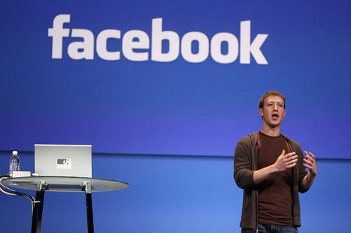 Mark Zuckerberg in 2008, delivering a keynote at Facebook's F8 developer conference. Photo (CC) Brian Solis, www.briansolis.com and bub.blicio.us.
