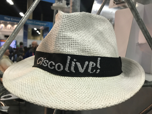 A snappy straw hat promotes the CiscoLive 2017 customer and partner conference.