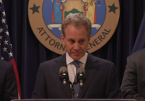 New York Attorney General Eric Schneiderman speaks at a recent press conference.  (Source: Attorney General's Press Office)