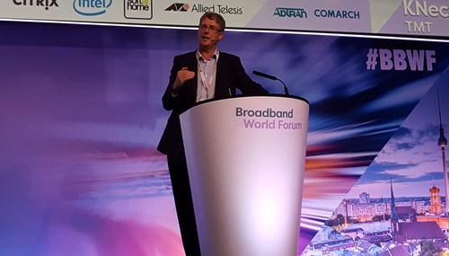 BT's Howard Watson, seen here presenting at last year's Broadband World Forum in Berlin, has been given responsibility for building the operator's 5G network.