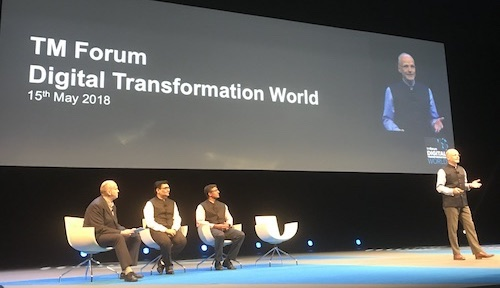 From left to right: Mark Newman, chief analyst, TM Forum; Anish Shah, president of IT, Reliance Jio; Kiran Thomas, president, Reliance Industries; Steffen Roehn, senior advisor, Reliance Jio.