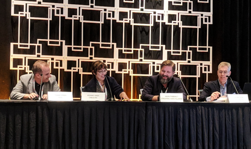 From left to right, Dr. Ozgur Oyman of Intel, Arianne Hinds of CableLabs and Jason Thibeault of the Streaming Video Alliance speak on a panel with Heavy Reading moderator Alan Breznick.