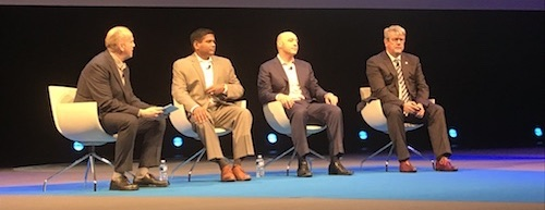 From left to right: TM Forum's Mark Newman; Shankar Arumugavelu, global CIO, Verizon; Andrew Feinberg, CEO, NetCracker; Enrique Blanco, chief technology officer, Telefonica.