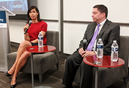 FCC Commissioners Jessica Rosenworcel and Michael O'Rielly talk about spectrum at a WifiForward event.