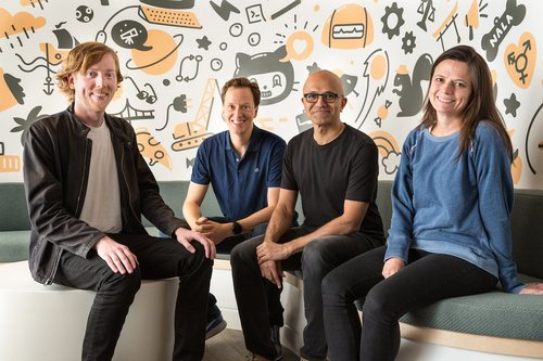 Github CEO and co-founder Chris Wanstrath (left); Nat Friedman, Microsoft corporate vice president, developer services and incoming GitHub CEO; Microsoft CEO Satya Nadella; and Microsoft CFO Amy Hood. Photo by Microsoft.