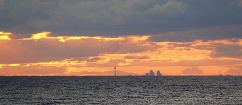 Toronto is in the distance in this view of Lake Ontario.