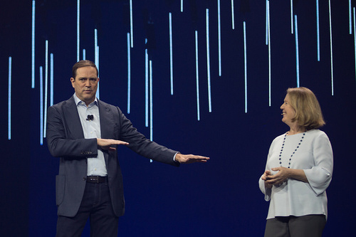 Cisco CEO Chuck Robbins (left) and Diane Greene, CEO of Google Cloud Platform. (Photo by Cisco.)