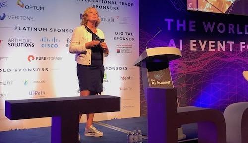 Berit Svendsen, the CEO of Telenor Norway, addresses an audience at last week's AI Summit in London.