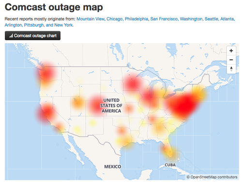 Downdetector live outage map, about 4:35 p.m. ET Friday.