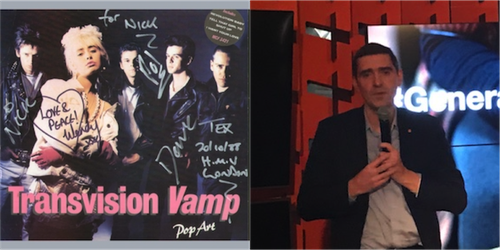 On the left, the 1980s pop group; on the right, Arnaud Vamparys, senior vice president of radio networks for Orange.