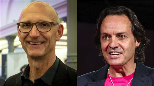 Timotheus Hottges, CEO of Deutsche Telekom (left), and John Legere, CEO of T-Mobile US (right) have wildly contrasting management styles.